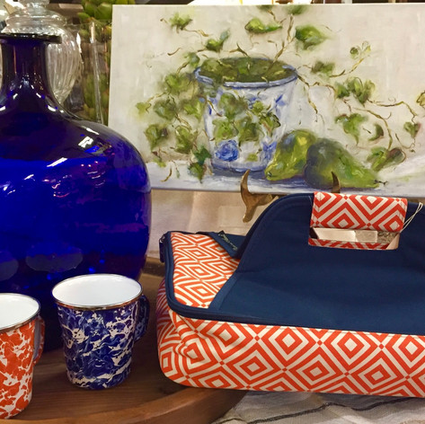 "Kathy Miller Original Oil Painting ""Ivy and Pears"", Insulated Casserole Carrier - Orange and Blue, Enamelware Mugs - Orange and Blue, Hand Blown Cobalt ""Mega"" Vase"