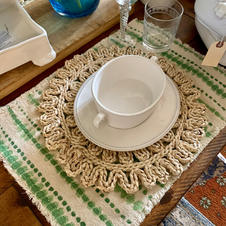 Green & White Placemats + Woven Chargers