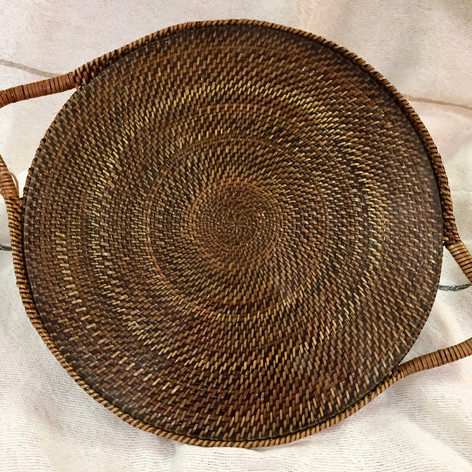 Hand Woven Calaisio Serving Platter with Glass Insert
