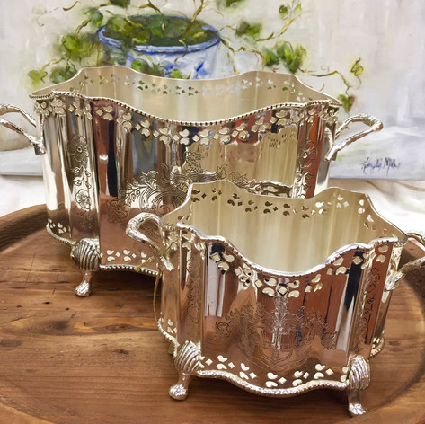 Silver Plated High Polished Footed Planters