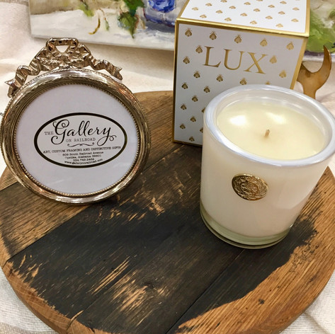 Aged Bourbon Cask Lazy Susan, Silver Leafed Round Photo Frame, Lux Scented Candles