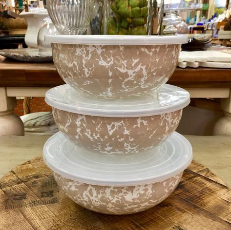 Taupe Swirl Enamelware Storage/Mixing Bowl Set