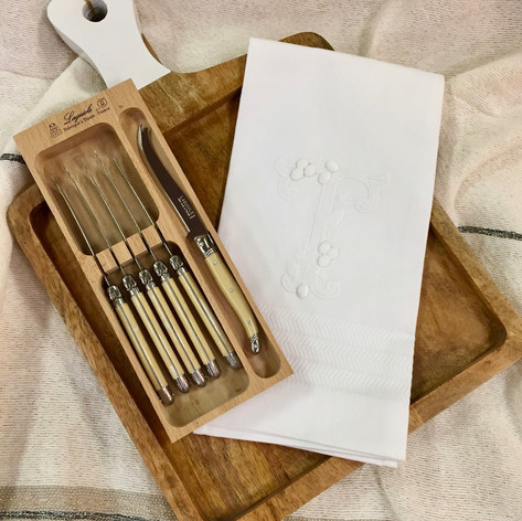 Wooden Cheese Board with Handle, French Laguoile Knives Set of 6 From Laguoile, Portuguese Monogrammed Guest Towel