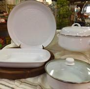 White Enamelware Serving Pieces Round Tray, Rectangular Baker, Dutch Oven, Covered Sauté Pan, Lasagna Pan