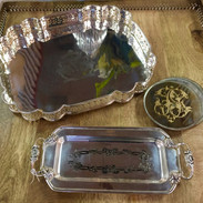 """Silverplate Vanity Trays, High Poloshed """"Renaissance"""" Tray, Vintage Small Tray, and Antiqued Mirrored Coasters"""