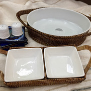Hand Woven Calaisio Serving Piece, Oval Baker (Porcelain Dish) and Divided Server