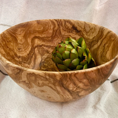 "Handcrafted 13"" Olive Wood Bowl from Provence"