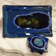 Handmade Pottery and Glass Serving Tray and Matching Set of 4 Coasters