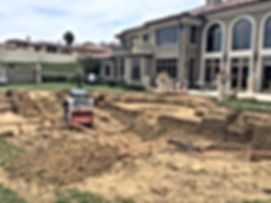 In-ground swimming pool excavation being dug in Chino Hills, CA.
