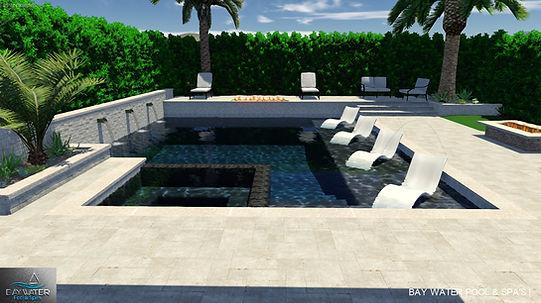 Custom 3D swimming pool and spa design 3D rendering