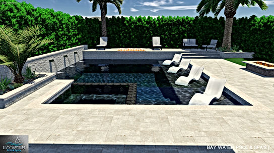Custom 3D swimming pool and spa design 3D rendering