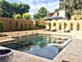 Custom Pool & Spa Travertine Stacked Stone and Travertine Decking