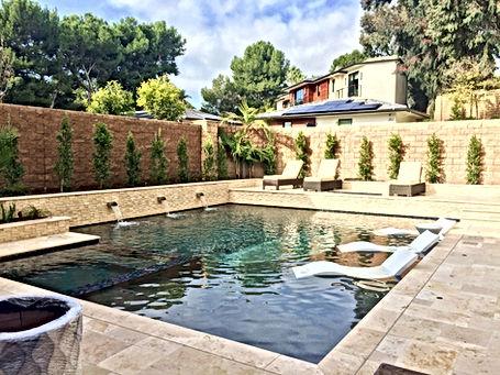 Custom Pool & Spa Travertine Stacked Stone and Travertine Decking