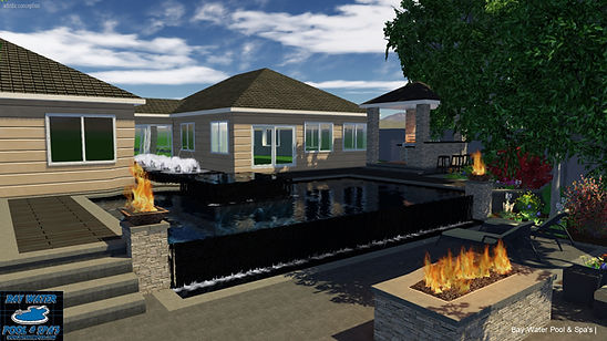 Custom in-ground pool design of vanishing edge 3D rendering
