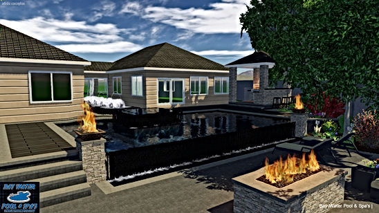 Custom in-ground pool design of vanishing edge 3D rendering