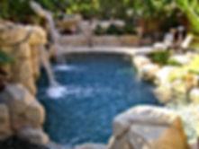 Custom Swimming Pool with Artificial Rock Waterfalls