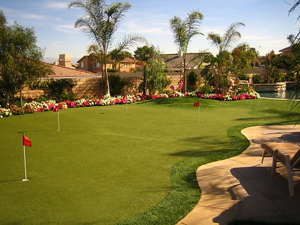 Swimming Pool Remodel and Landscaping Artificial Turf Putting Green