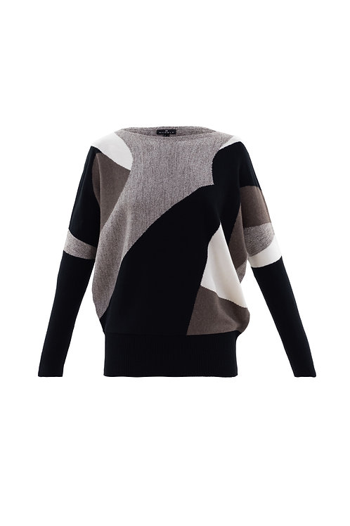 Ribbed Sleeve Abstract Jersey