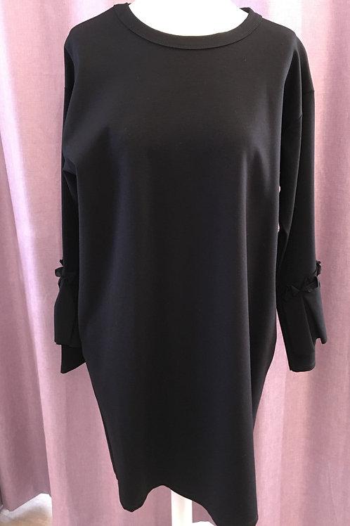 Black Fluted Sleeve Dress