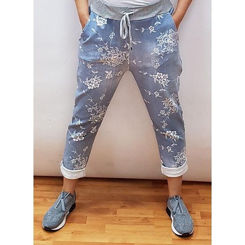 Chambray Floral Joggers