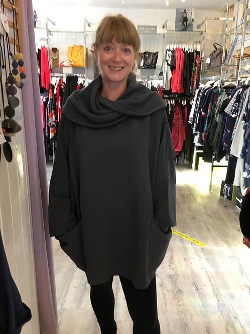Ribbed Cowl Neck Tunic