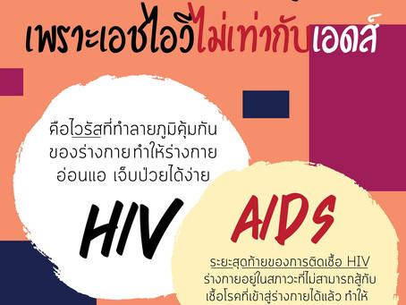 HIV ≠ AIDS เพราะเอชไอวีไม่เท่ากับเอดส์