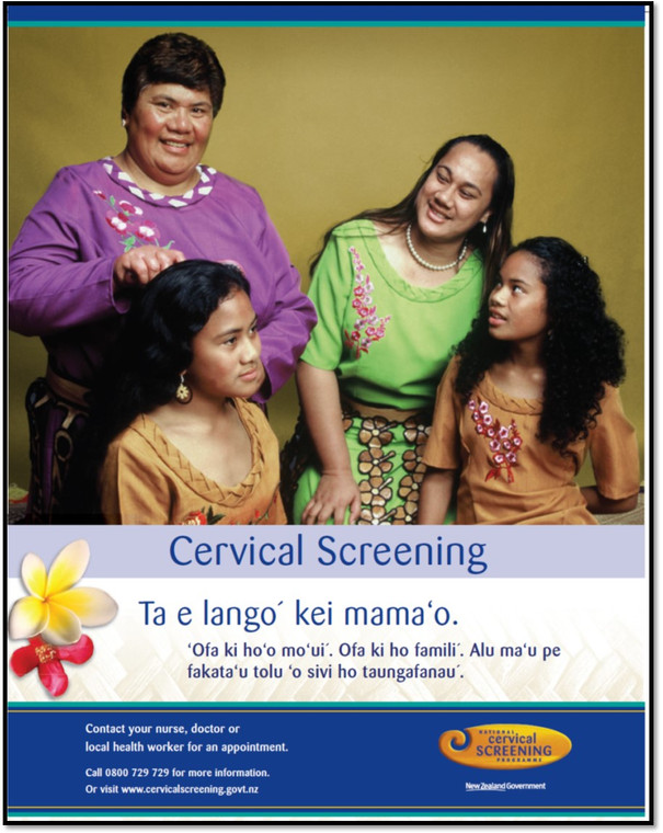 Poster for the Tongan community (with text in Tongan) promoting cervical screening (smear test).
