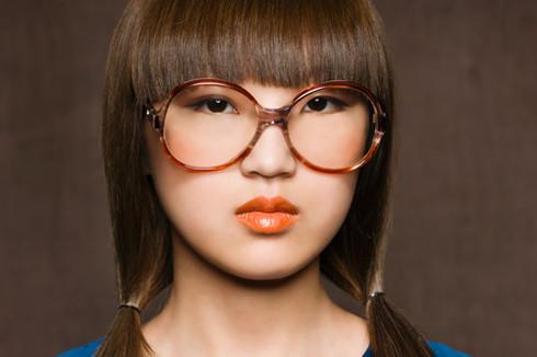 Bright lips and sleek hair
