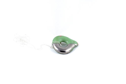 La Traviata Pendant green, pink and silver