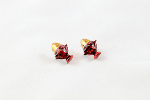 Queens Gold, red, black and gold earrings