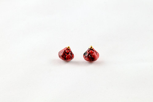 Queens Gold, red gold marble earrings