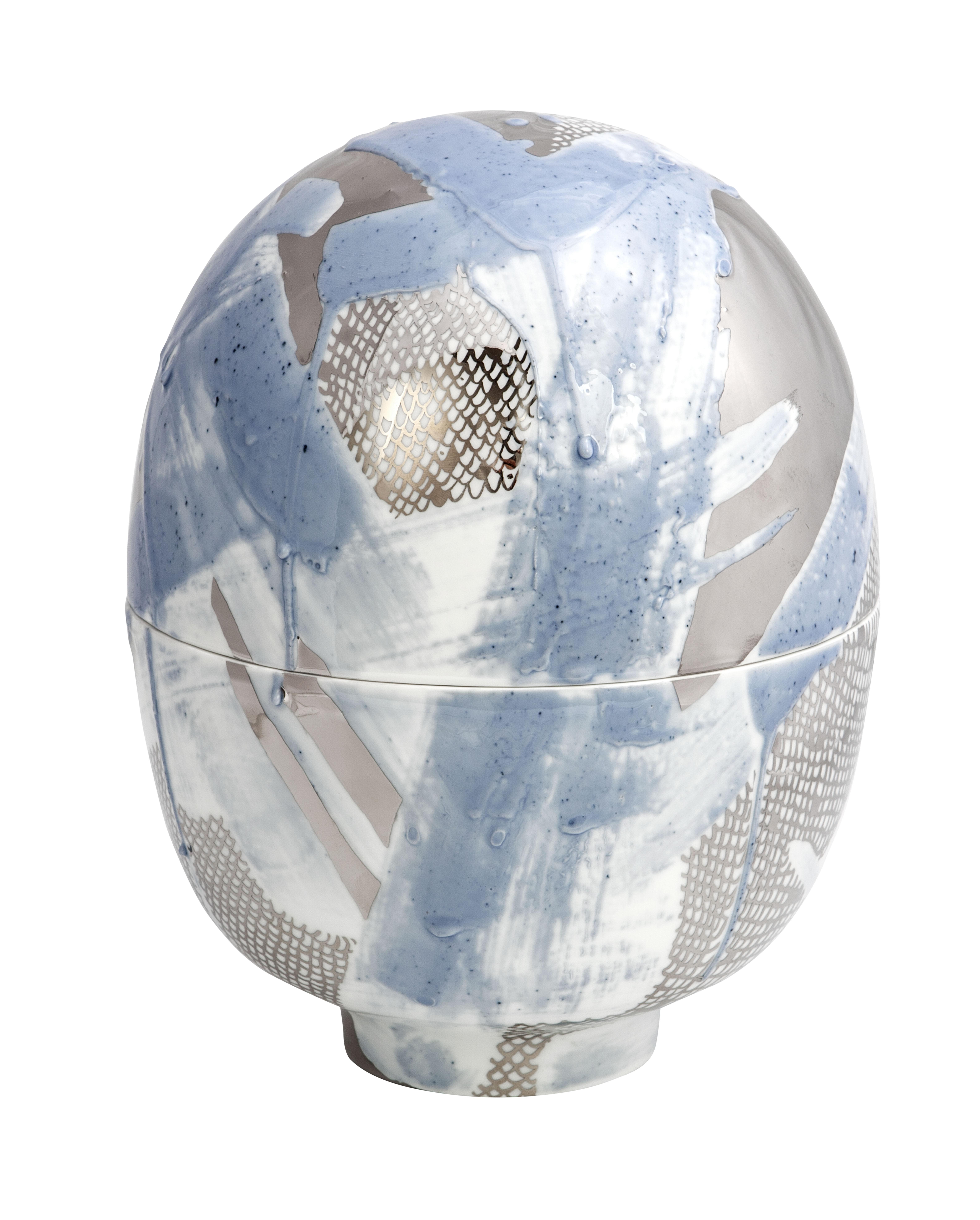 Egg Vessel Blue and Platinum Meissen