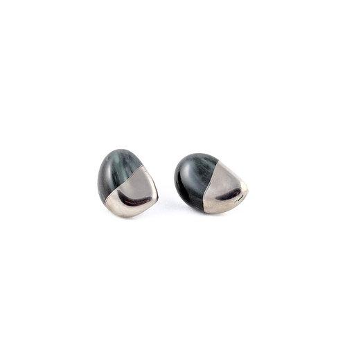 La Traviata earrings dark green and platinum