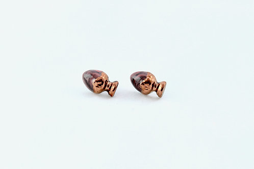 Queens Gold, marble, black, rose gold earrings