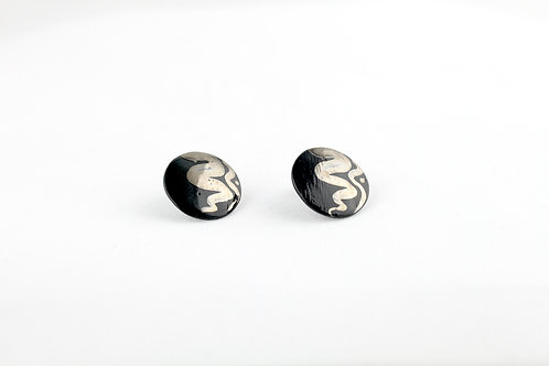 """Black Silver Earrings N°5- """"Ambiguous"""" Collection"""