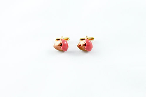 Kings Gold, coral red, rose gold cufflinks