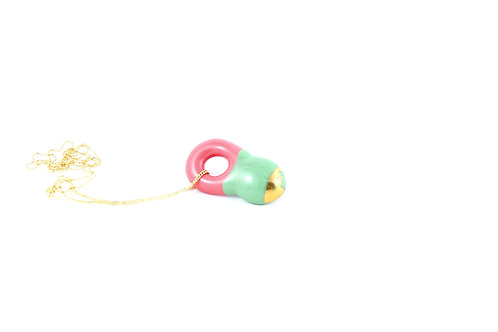 La Traviata Pendant green, pink and gold