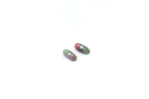 La Traviata Earrings green, pink and silver