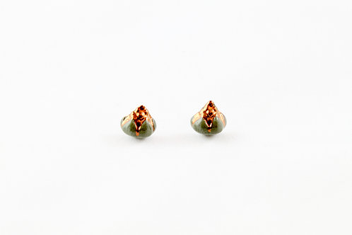 Queens Gold, dark green and rose gold earrings