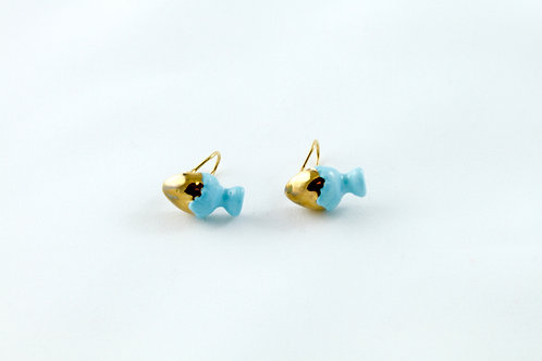 Queens Gold, blue gold ear clips