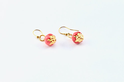 Queens Gold, red and gold hanging earrings