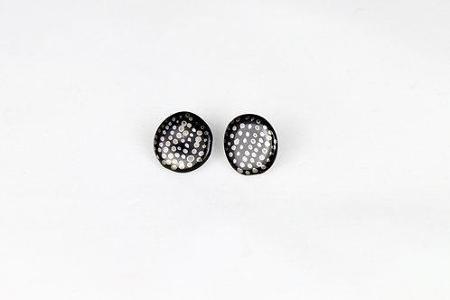 """Black Silver Dotts Earrings N°3 - """"Ambiguous"""" Collection"""
