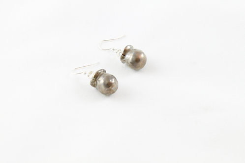 Queens Silver, platinum hanging Bud earrings