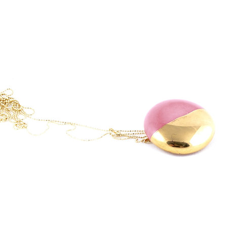 La Traviata Pendant with brooch pink and gold