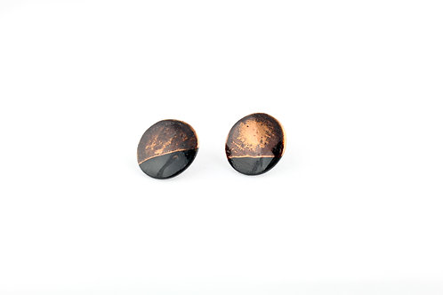 """Black Rose Gold Earrings N°1- """"Ambiguous"""" Collection"""