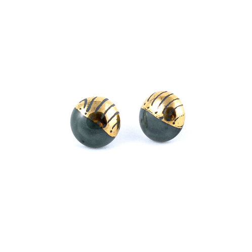 La Traviata Earrings  dark green and gold