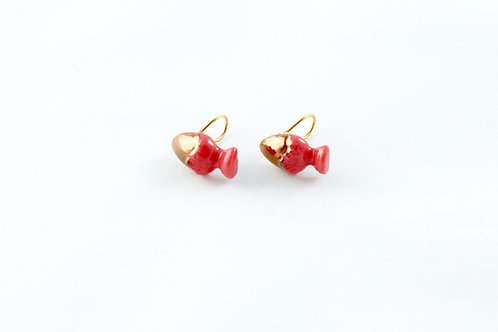 Queens Gold, red rose gold ear clips