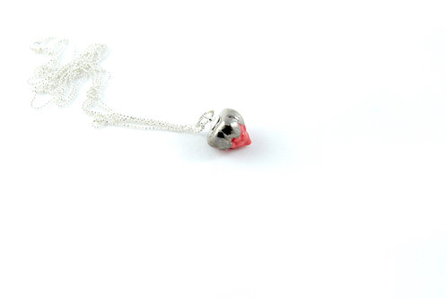Queens silver, red and platinum pendant