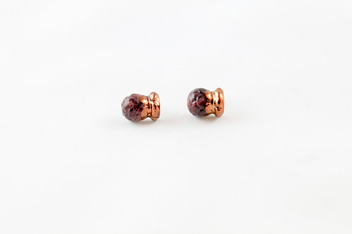 Queens Gold, marble red, black and rose gold Bud earrings
