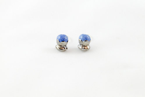 Queens silver, blue Bud ear clips
